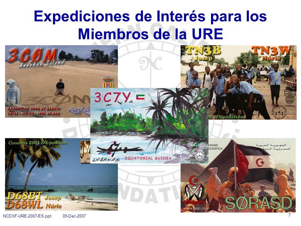 8 NCDXF-URE-2007-ES.ppt 09-Dec-2007 Proceso de Concesión de Ayudas a Expediciones de DX 1.