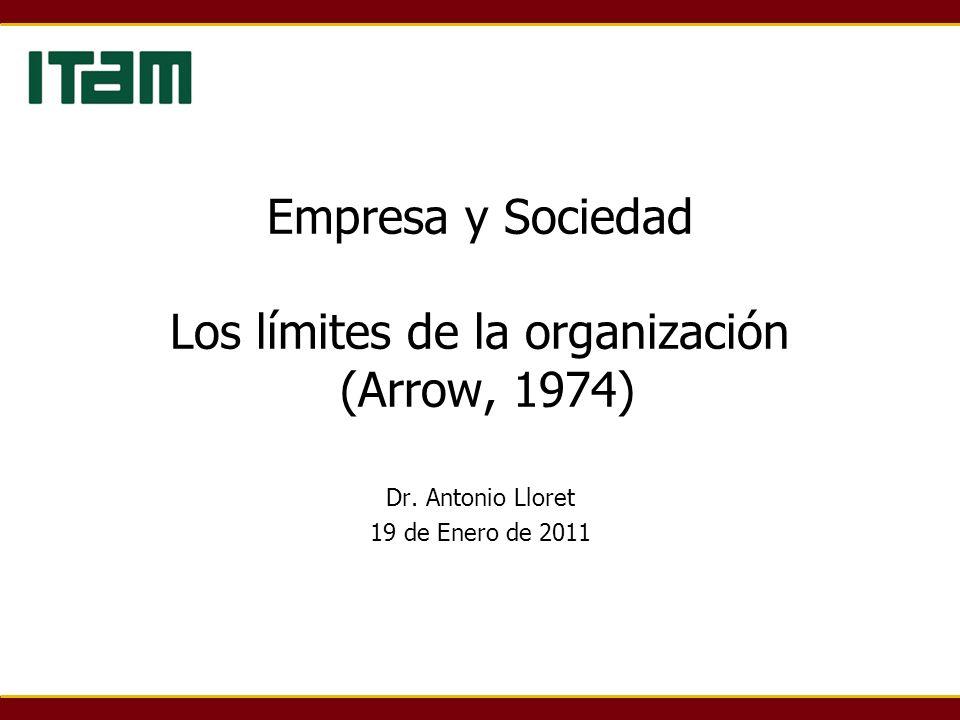 Empresa y Sociedad Los límites de la organización (Arrow, 1974) Dr. Antonio Lloret 19 de Enero de 2011