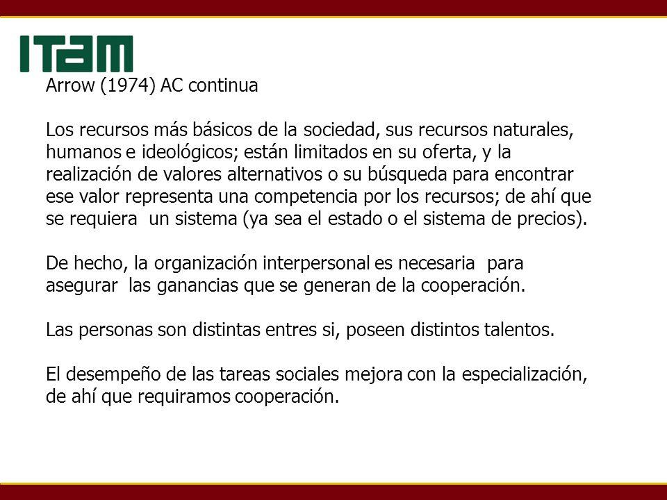 Arrow (1974) AC continua Los recursos más básicos de la sociedad, sus recursos naturales, humanos e ideológicos; están limitados en su oferta, y la re