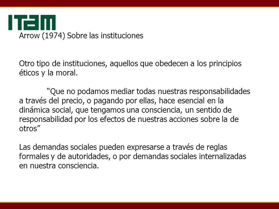 Arrow (1974) Sobre las instituciones Otro tipo de instituciones, aquellos que obedecen a los principios éticos y la moral. Que no podamos mediar todas
