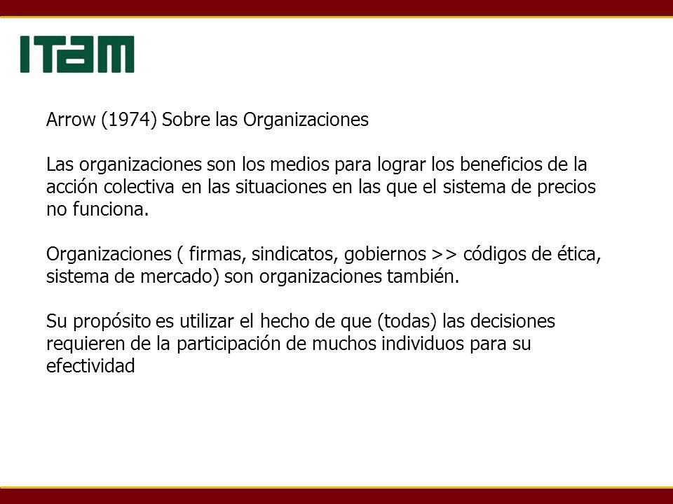 Arrow (1974) Sobre las Organizaciones Las organizaciones son los medios para lograr los beneficios de la acción colectiva en las situaciones en las qu