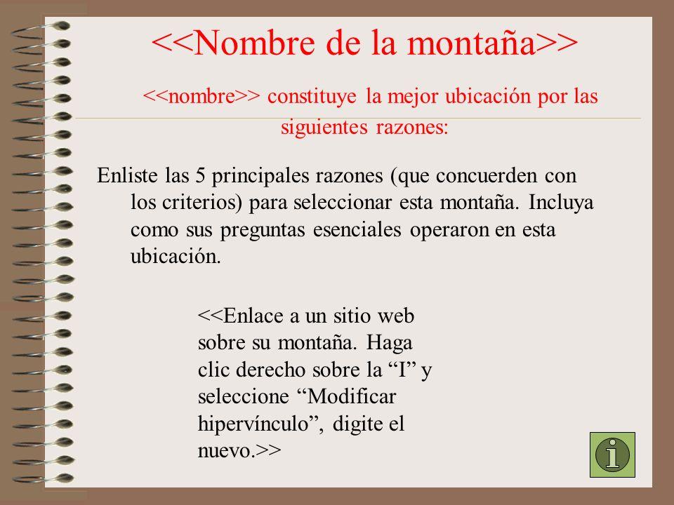 Nuestra selección de la ubicación: Nombre de la montaña: Ubicación: Tipo de montaña: Formada por: > Cumple con los siguientes criterios: 1.Elevación s
