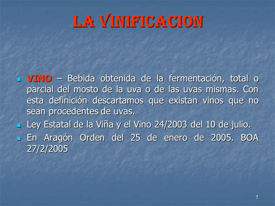 1 LA VINIFICACION VINO – Bebida obtenida de la fermentación, total o parcial del mosto de la uva o de las uvas mismas. Con esta definición descartamos