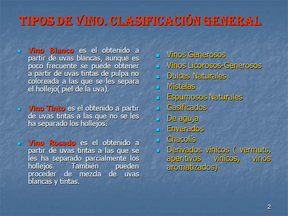2 TIPOS DE VINO. Clasificación General Vino Blanco es el obtenido a partir de uvas blancas, aunque es poco frecuente se puede obtener a partir de uvas