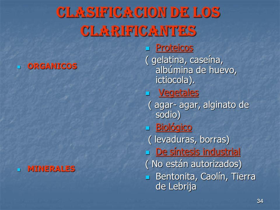 34 CLASIFICACION DE LOS CLARIFICANTES ORGANICOS ORGANICOS MINERALES MINERALES Proteicos Proteicos ( gelatina, caseína, albúmina de huevo, ictiocola).
