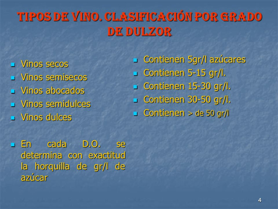 4 TIPOS DE VINO. Clasificación por grado de dulzor Vinos secos Vinos secos Vinos semisecos Vinos semisecos Vinos abocados Vinos abocados Vinos semidul