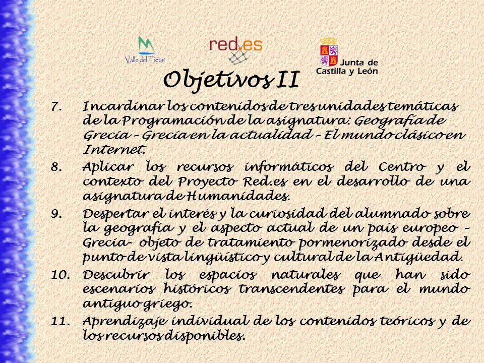 Objetivos II 7.Incardinar los contenidos de tres unidades temáticas de la Programación de la asignatura: Geografía de Grecia – Grecia en la actualidad