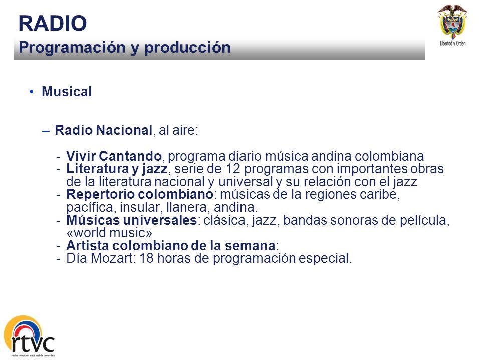 Programación y producción RADIO Información y opinión –Radio Nacional, al aire: -Trayectos: producidos y emitidos 96, desde nov. 05 -Sena informa -Esp