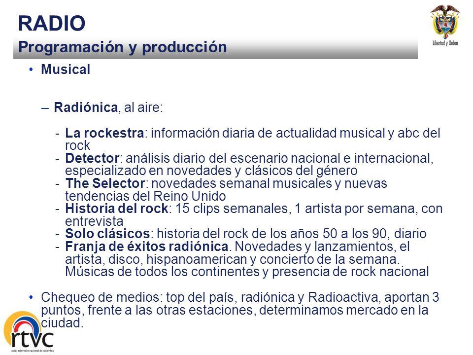 Programación y producción RADIO Musical –Radio Nacional, al aire: -Vivir Cantando, programa diario música andina colombiana -Literatura y jazz, serie