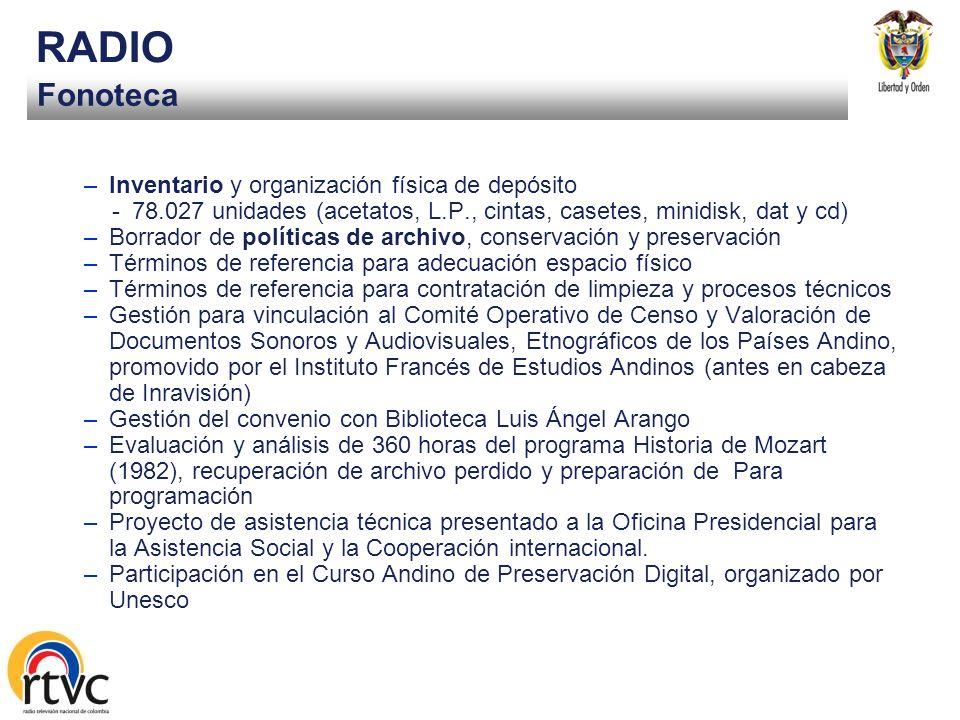 Emisión RADIO Convenio Fondo de Comunicaciones para recuperación de la Red de estaciones –Monto: $7.000 aprox. en ejecución desde 2004 -Fase I. Estaci
