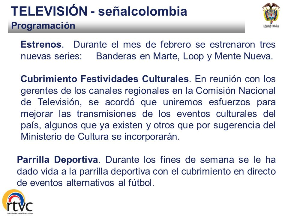 Programación TELEVISIÓN - señalcolombia Estrenos.