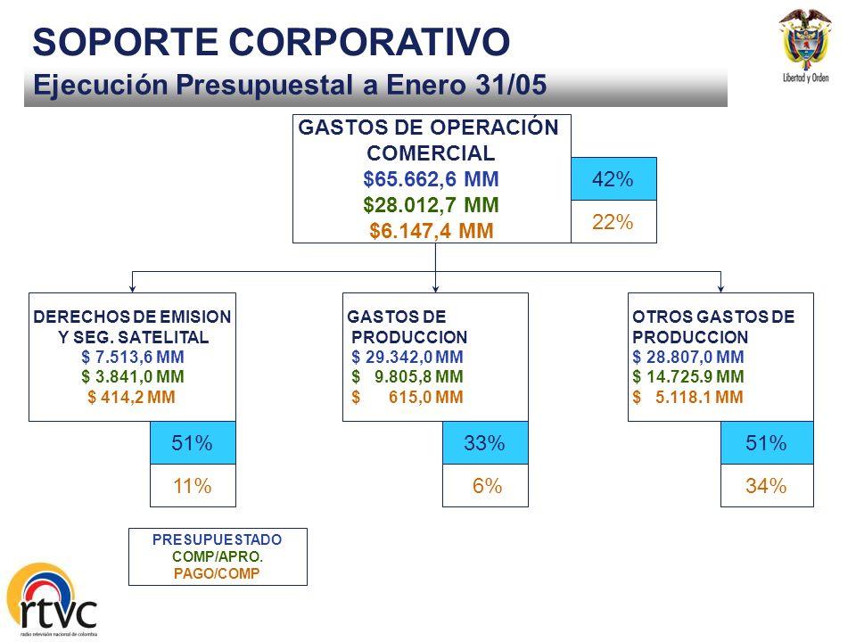 Ejecución Presupuestal a Enero 31/05 SOPORTE CORPORATIVO GASTOS DE FUNCIONAMIENTO $ 8.675,7 $ 925,7 $ 292,3 GASTOS DE PERSONAL $ 4.488,0 MM $ 484,2 MM