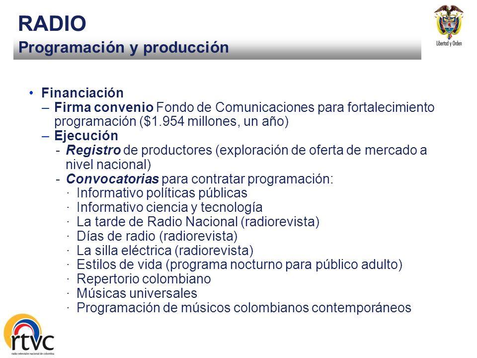 Programación y producción RADIO Financiación –Firma convenio Fondo de Comunicaciones para fortalecimiento programación ($1.954 millones, un año) –Ejecución -Registro de productores (exploración de oferta de mercado a nivel nacional) -Convocatorias para contratar programación: ·Informativo políticas públicas ·Informativo ciencia y tecnología ·La tarde de Radio Nacional (radiorevista) ·Días de radio (radiorevista) ·La silla eléctrica (radiorevista) ·Estilos de vida (programa nocturno para público adulto) ·Repertorio colombiano ·Músicas universales ·Programación de músicos colombianos contemporáneos