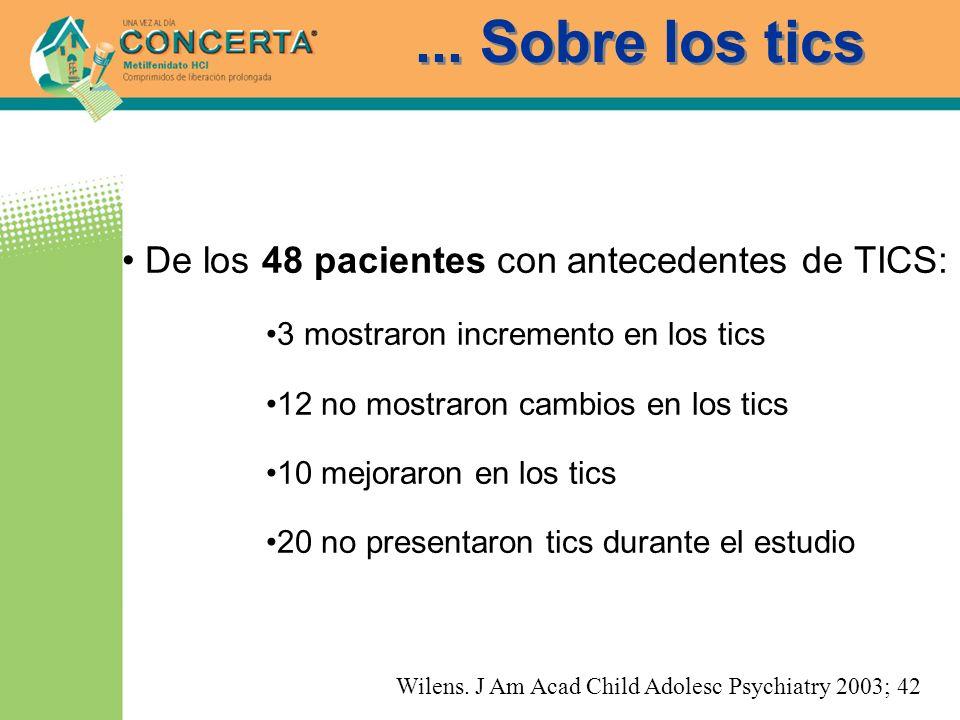 ... Sobre los tics De los 48 pacientes con antecedentes de TICS: 3 mostraron incremento en los tics 12 no mostraron cambios en los tics 10 mejoraron e