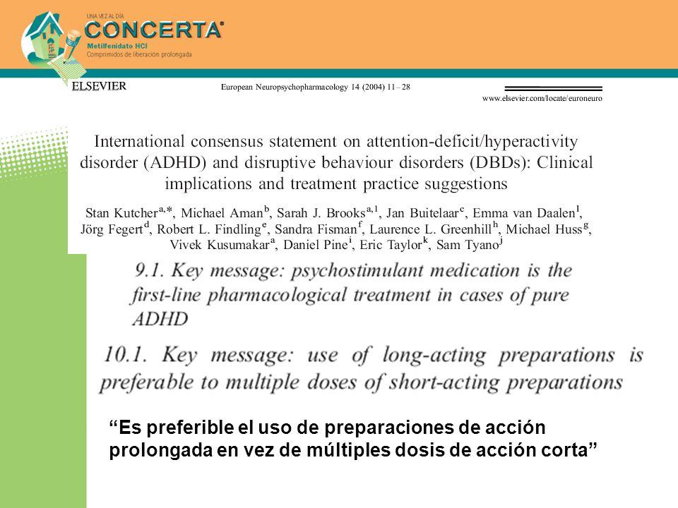 Es preferible el uso de preparaciones de acción prolongada en vez de múltiples dosis de acción corta