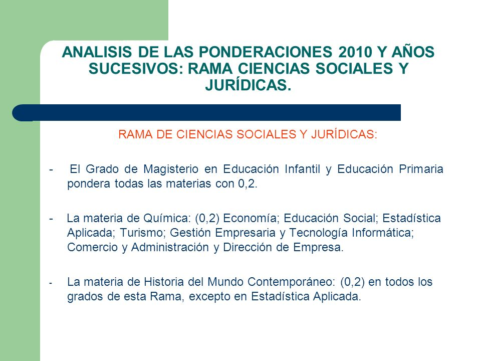 ANALISIS DE LAS PONDERACIONES 2010 Y AÑOS SUCESIVOS: RAMA CIENCIAS SOCIALES Y JURÍDICAS. RAMA DE CIENCIAS SOCIALES Y JURÍDICAS: - El Grado de Magister