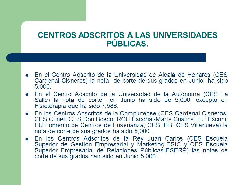 CENTROS ADSCRITOS A LAS UNIVERSIDADES PÚBLICAS. En el Centro Adscrito de la Universidad de Alcalá de Henares (CES Cardenal Cisneros) la nota de corte