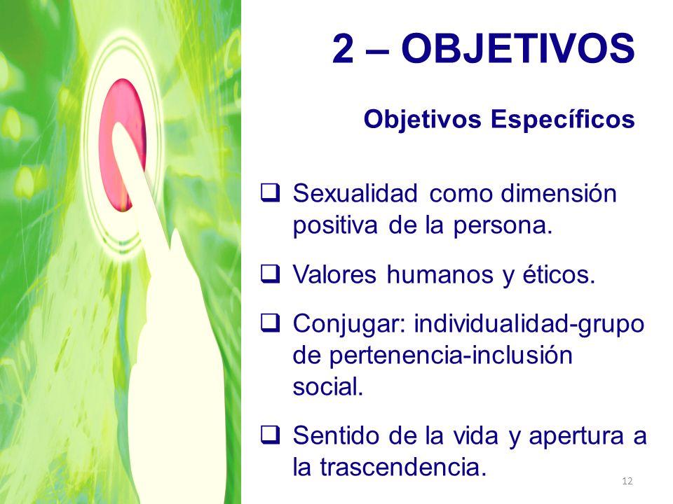 2 – OBJETIVOS Objetivos Específicos Sexualidad como dimensión positiva de la persona. Valores humanos y éticos. Conjugar: individualidad-grupo de pert