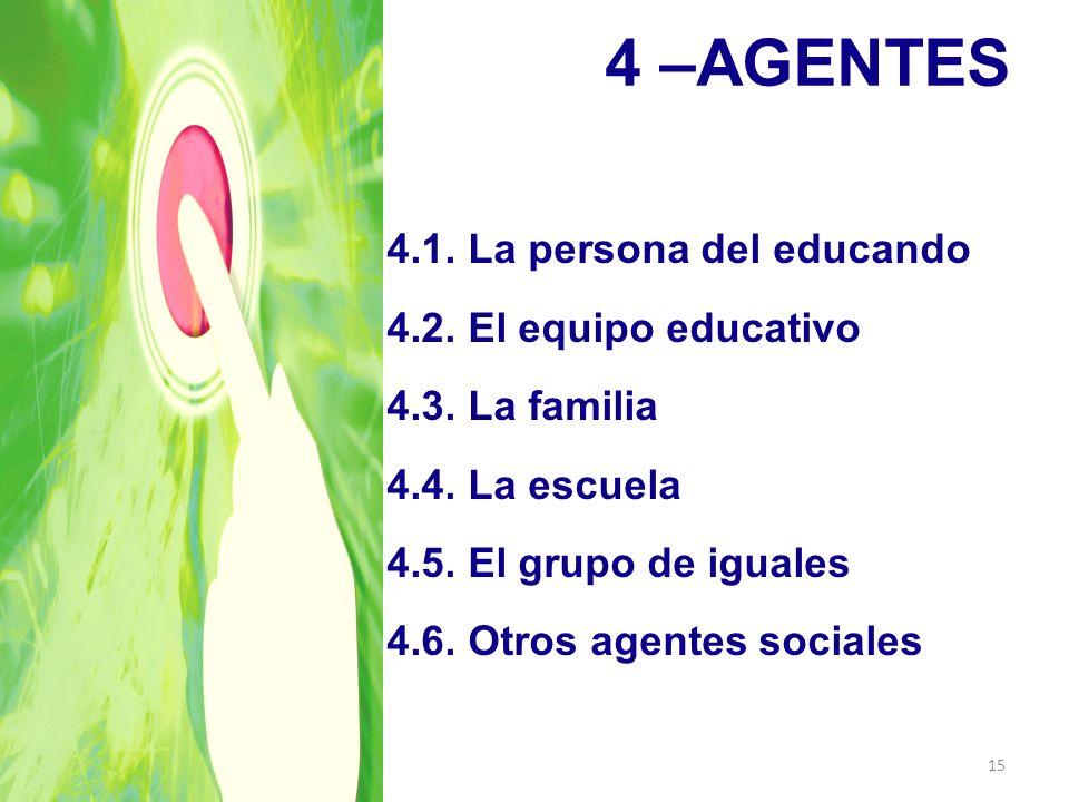 4 –AGENTES 4.1. La persona del educando 4.2. El equipo educativo 4.3. La familia 4.4. La escuela 4.5. El grupo de iguales 4.6. Otros agentes sociales