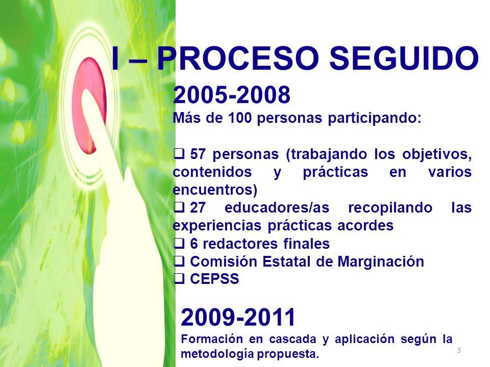 I – PROCESO SEGUIDO 2005-2008 Más de 100 personas participando: 57 personas (trabajando los objetivos, contenidos y prácticas en varios encuentros) 27