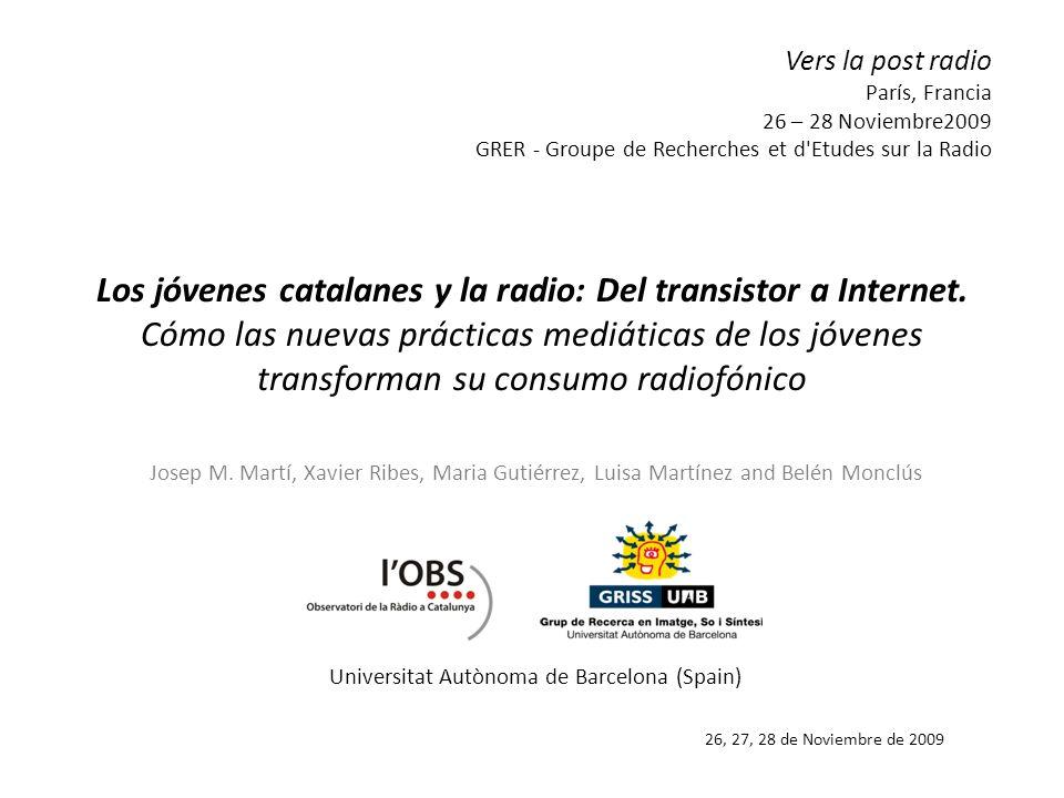 Los jóvenes catalanes y la radio: Del transistor a Internet. Cómo las nuevas prácticas mediáticas de los jóvenes transforman su consumo radiofónico Jo