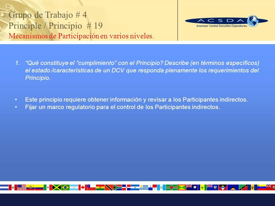 Grupo de Trabajo # 4 Principle / Principio # 19 Mecanismos de Participación en varios niveles.