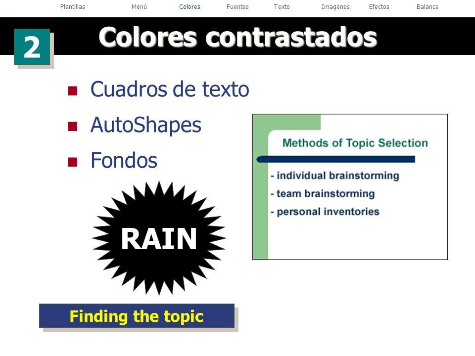 Cuadros de texto AutoShapes Fondos RAIN Finding the topic Colores contrastados 2 2 PlantillasMenúColoresFuentesTextoImagenesEfectosBalance