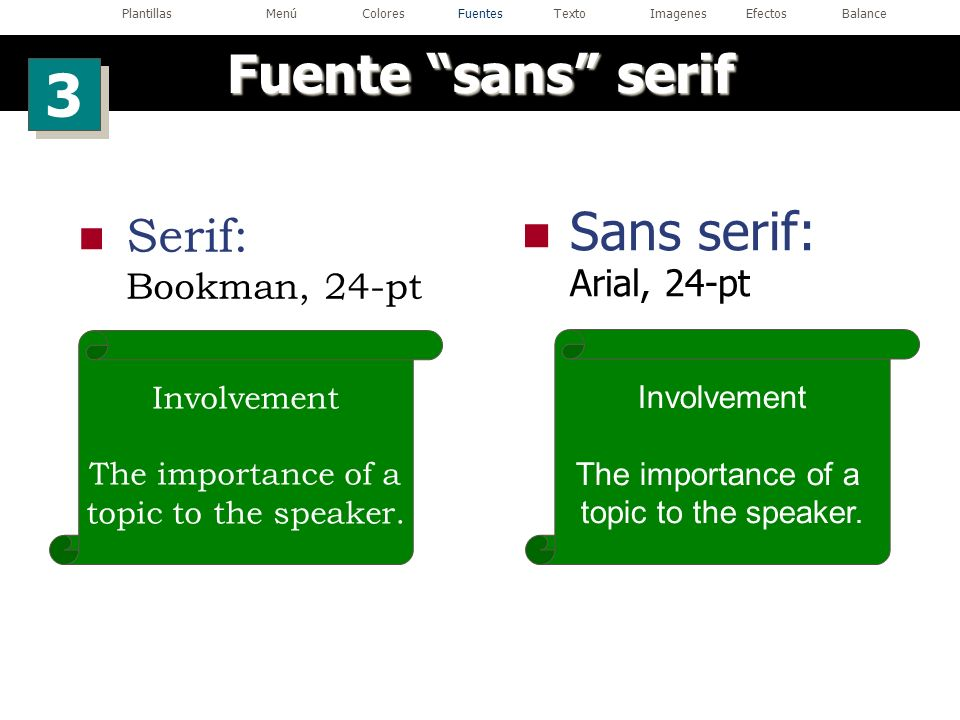 Sans serif: Arial, 24-pt Involvement The importance of a topic to the speaker. Serif: Bookman, 24-pt Involvement The importance of a topic to the spea