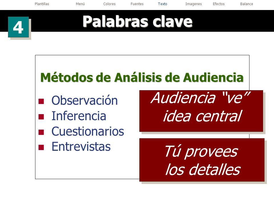 Métodos de Análisis de Audiencia Observación Inferencia Cuestionarios Entrevistas Palabras clave 4 4 Audiencia ve idea central Audiencia ve idea centr