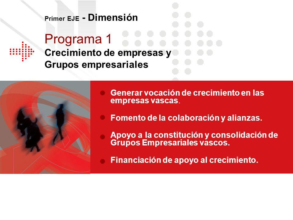 Programa 1 Crecimiento de empresas y Grupos empresariales Generar vocación de crecimiento en las empresas vascas. Fomento de la colaboración y alianza