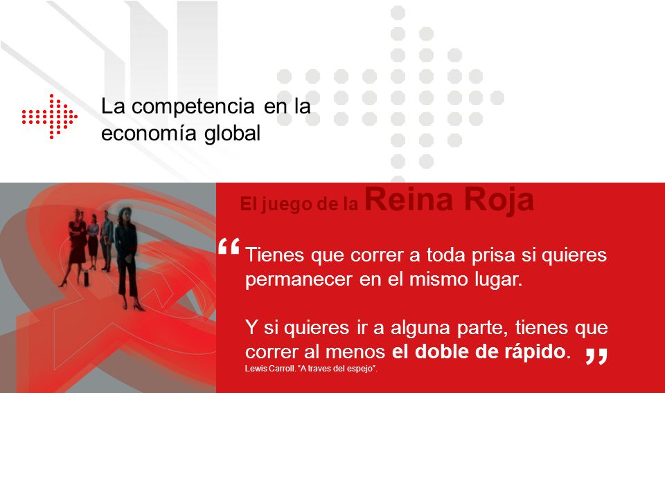 La competencia en la economía global El juego de la Reina Roja Tienes que correr a toda prisa si quieres permanecer en el mismo lugar. Y si quieres ir
