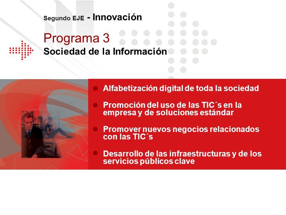 Alfabetización digital de toda la sociedad Promoción del uso de las TIC´s en la empresa y de soluciones estándar Promover nuevos negocios relacionados