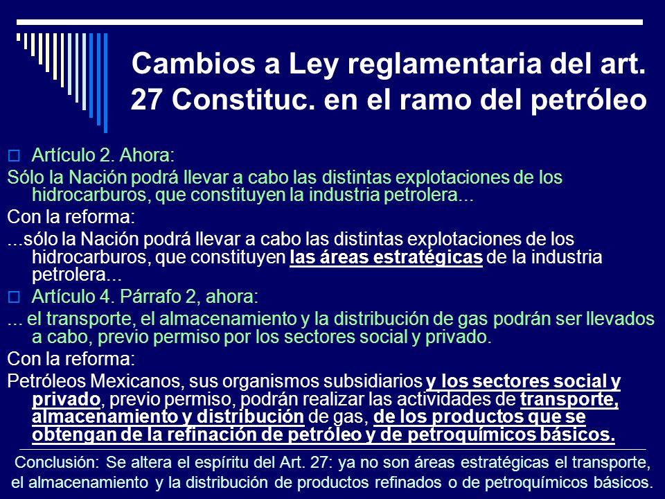 Cambios a Ley reglamentaria del art. 27 Constituc. en el ramo del petróleo Artículo 2. Ahora: Sólo la Nación podrá llevar a cabo las distintas explota