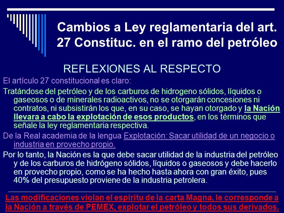 Cambios a Ley reglamentaria del art. 27 Constituc. en el ramo del petróleo REFLEXIONES AL RESPECTO El artículo 27 constitucional es claro: Tratándose