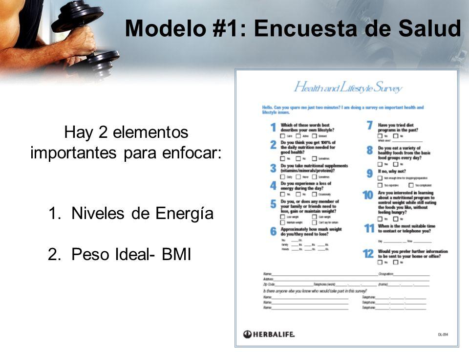 Hay 2 elementos importantes para enfocar: 1.Niveles de Energía 2.Peso Ideal- BMI Modelo #1: Encuesta de Salud