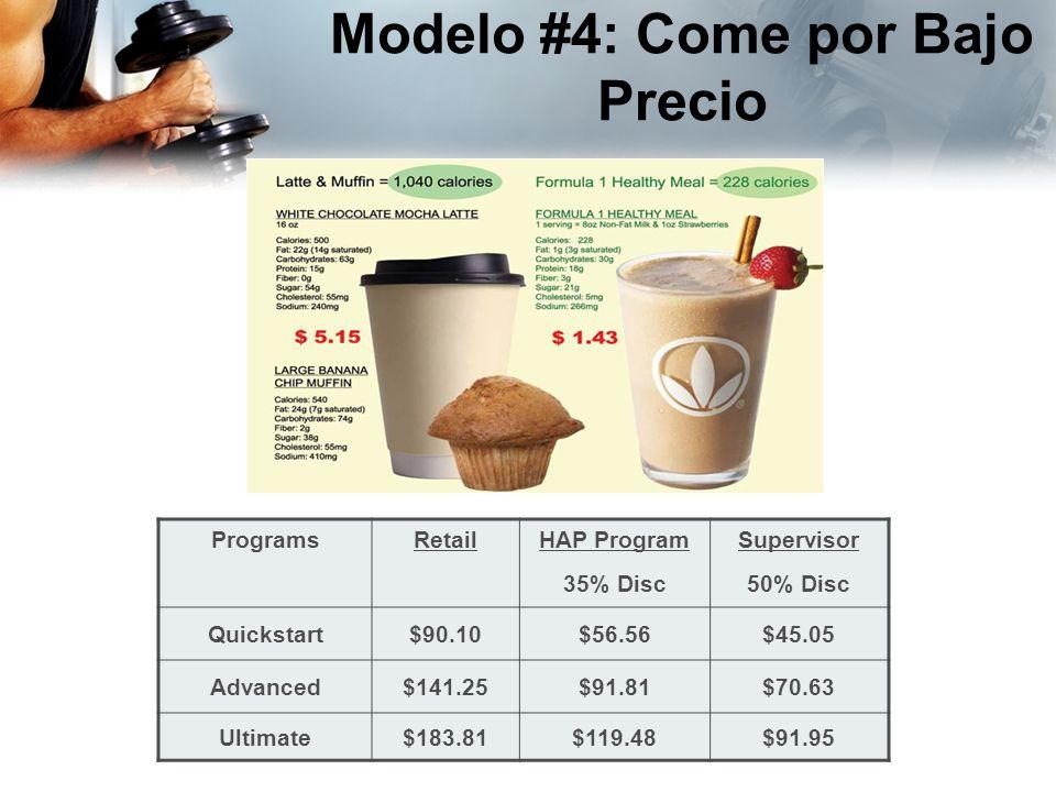 ProgramsRetailHAP Program 35% Disc Supervisor 50% Disc Quickstart$90.10$56.56$45.05 Advanced$141.25$91.81$70.63 Ultimate$183.81$119.48$91.95 Modelo #4