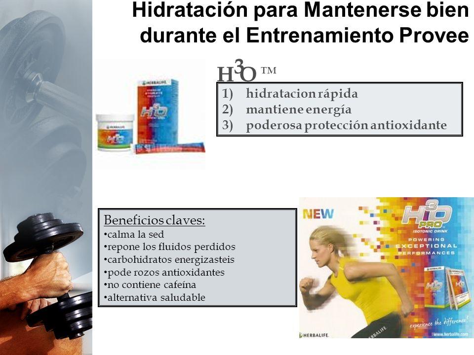 Hidratación para Mantenerse bien durante el Entrenamiento Provee H O 3 TM 1)hidratacion rápida 2)mantiene energía 3)poderosa protección antioxidante B