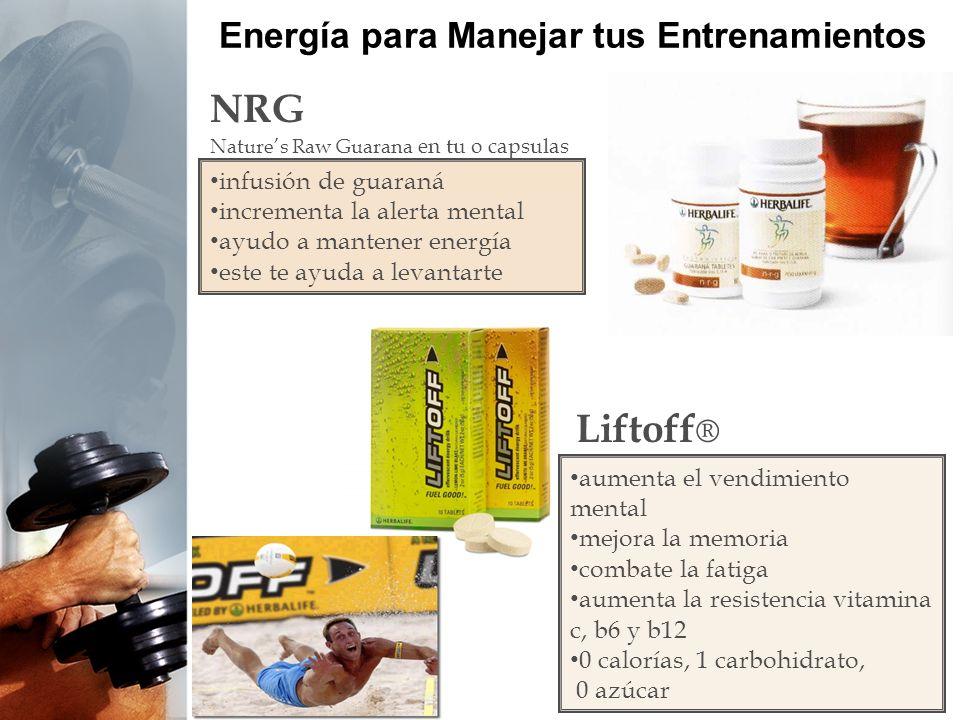 Energía para Manejar tus Entrenamientos NRG Natures Raw Guarana en tu o capsulas Liftoff ® aumenta el vendimiento mental mejora la memoria combate la