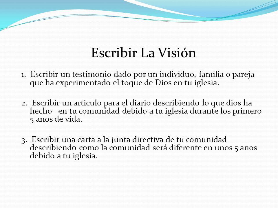 1. Escribir un testimonio dado por un individuo, familia o pareja que ha experimentado el toque de Dios en tu iglesia. 2. Escribir un articulo para el