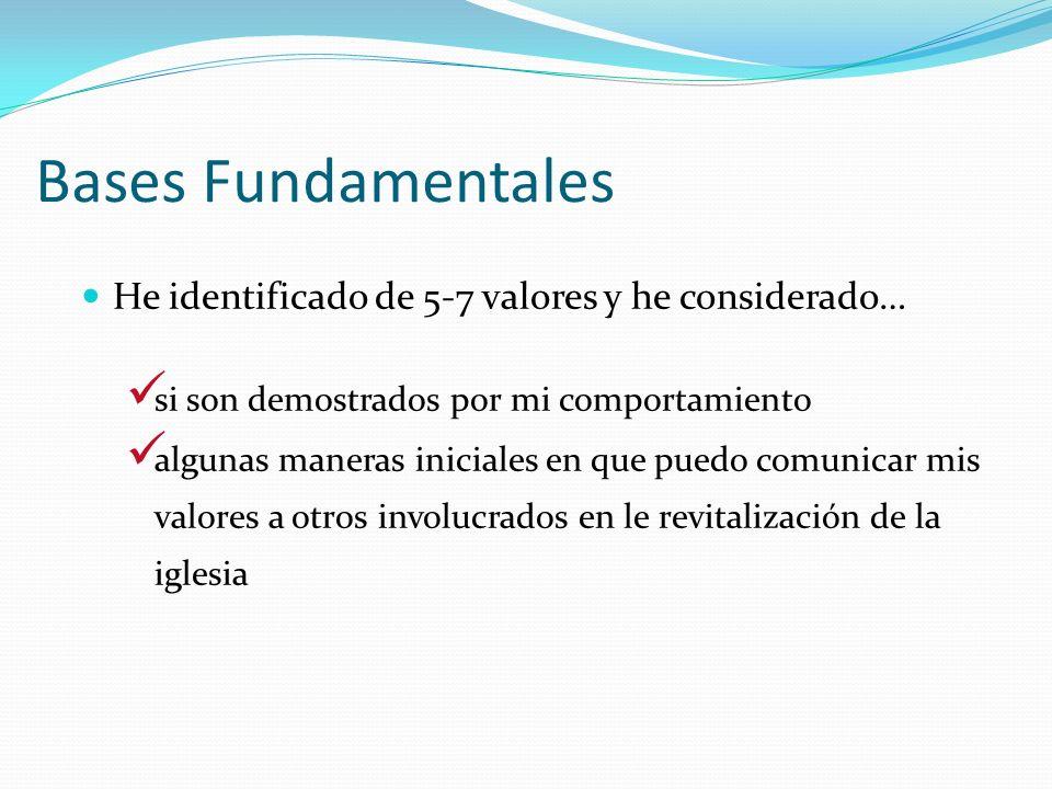 Bases Fundamentales He identificado de 5-7 valores y he considerado… si son demostrados por mi comportamiento algunas maneras iniciales en que puedo c