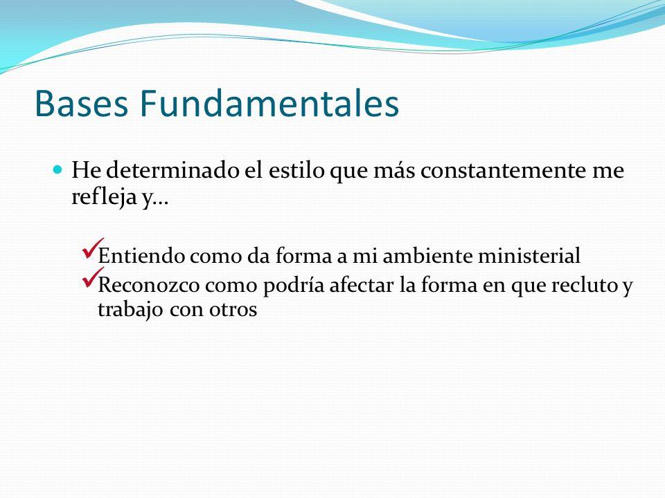 Bases Fundamentales He determinado el estilo que más constantemente me refleja y… Entiendo como da forma a mi ambiente ministerial Reconozco como podr