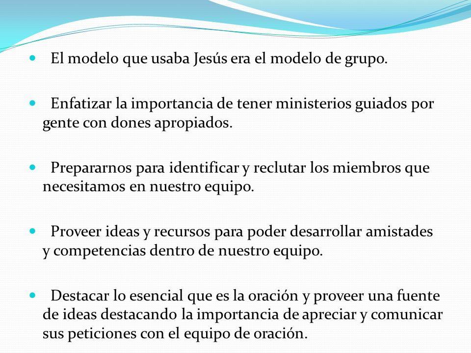 El modelo que usaba Jesús era el modelo de grupo. Enfatizar la importancia de tener ministerios guiados por gente con dones apropiados. Prepararnos pa