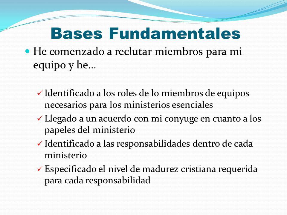 Bases Fundamentales He comenzado a reclutar miembros para mi equipo y he… Identificado a los roles de lo miembros de equipos necesarios para los minis