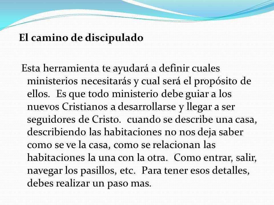 El camino de discipulado Esta herramienta te ayudará a definir cuales ministerios necesitarás y cual será el propósito de ellos. Es que todo ministeri