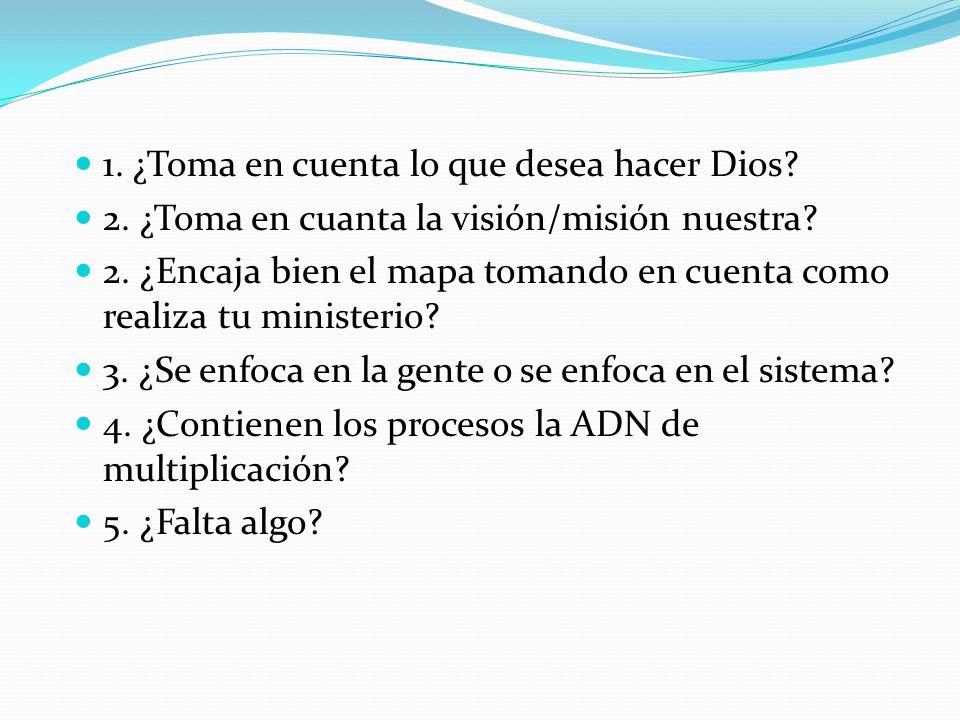 1. ¿Toma en cuenta lo que desea hacer Dios? 2. ¿Toma en cuanta la visión/misión nuestra? 2. ¿Encaja bien el mapa tomando en cuenta como realiza tu min