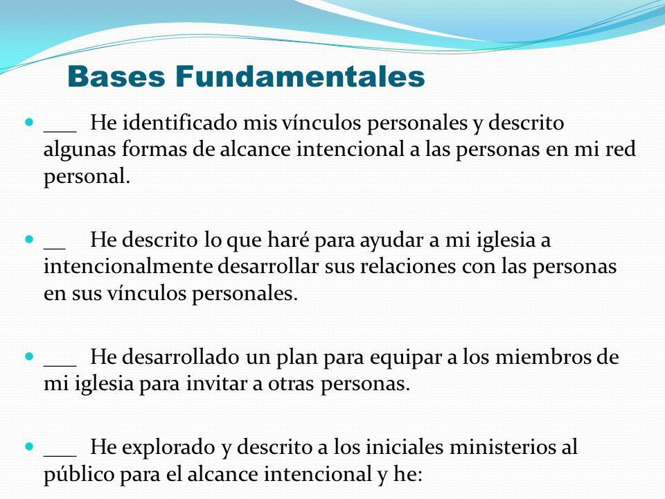 Bases Fundamentales ___ He identificado mis vínculos personales y descrito algunas formas de alcance intencional a las personas en mi red personal. __