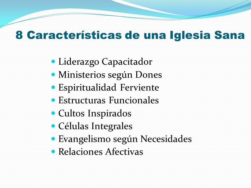8 Características de una Iglesia Sana Liderazgo Capacitador Ministerios según Dones Espiritualidad Ferviente Estructuras Funcionales Cultos Inspirados