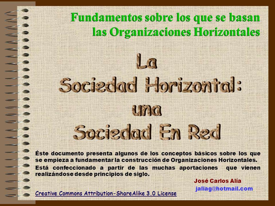 Fundamentos sobre los que se basan las Organizaciones Horizontales Fundamentos sobre los que se basan las Organizaciones Horizontales Creative Commons Attribution-ShareAlike 3.0 License Éste documento presenta algunos de los conceptos básicos sobre los que se empieza a fundamentar la construcción de Organizaciones Horizontales.