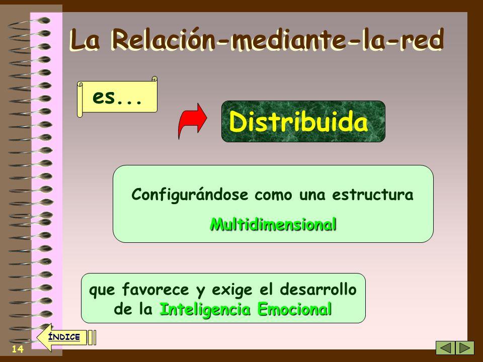 13 ÍNDICE La Relación-mediante-la-red Multidireccional Dirigiéndose en todos los sentidos y a todas las direcciones Lo que propicia un nuevo tipo de o