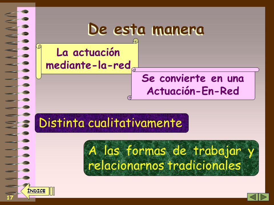16 ÍNDICE La Sociedad En Red El Trabajo En Red Información y el Conocimiento Es la forma, emergente, que empieza a adoptar la Sociedad de la Informaci